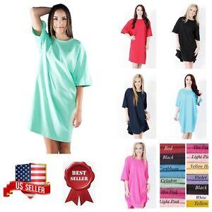 Image is loading Women-Sleep-shirts-Sleepwear-Beachwear-Night-Gown-Long- 891e9a2fe