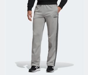 Adidas-Track-Pants-Mens-Small-New-Gray-Essentials-3-Stripe-Training-Straight-Leg