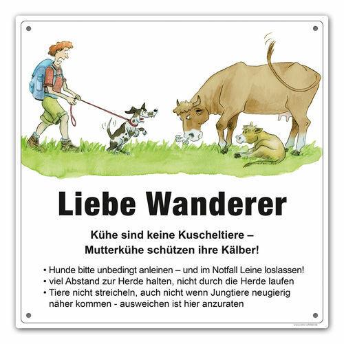 """Warnschild  Wanderweg /""""Vorsicht Kühe/"""" Kuhweide"""