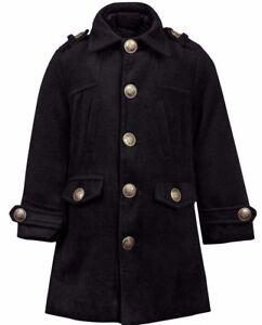 size 40 ce2a0 159d2 Details zu Mädchen Mantel aus Wolle Winter Mantel Wollmantel Dufflecoat 60%  Wolle schwarz