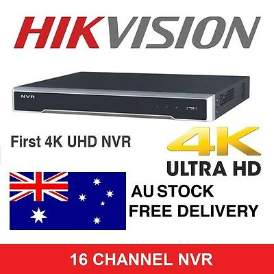 HIKVISION 4K ULTRA HD 16 Channel NVR DS-7616NI-I2/16P 16 POE PORTS 3YR WARRANTY