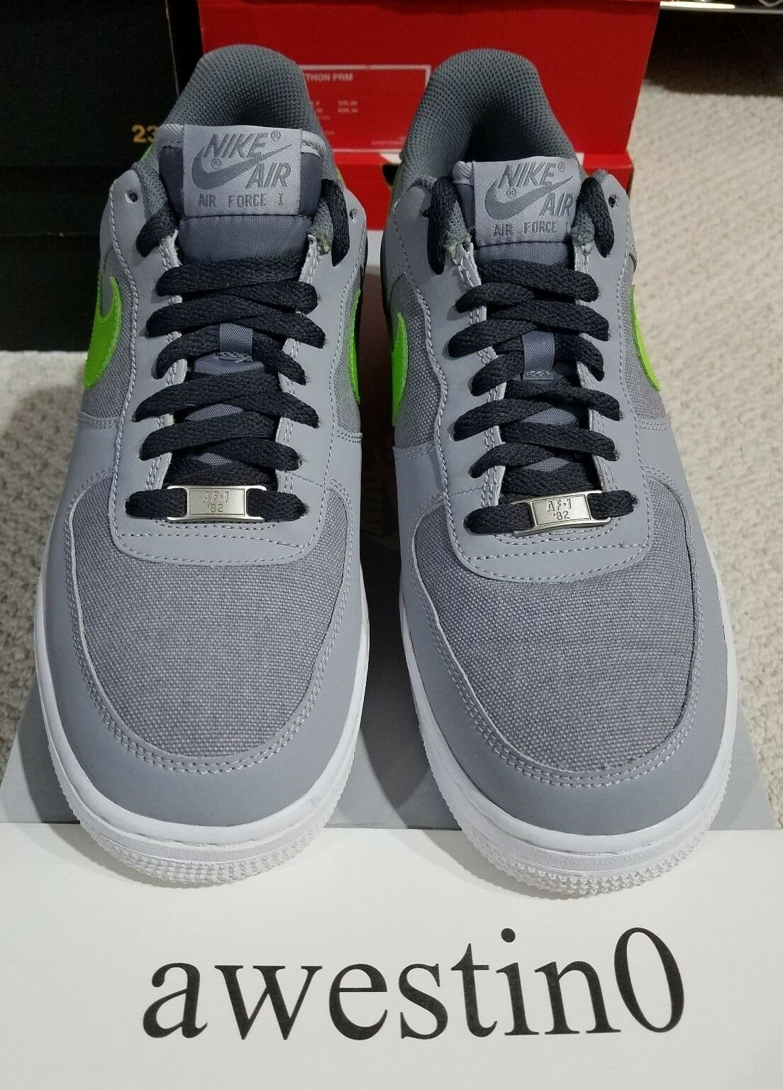 VNDS Nike Air Force 1 Low Wolf Grey/Action Green/White 488298 009 Size 9.5