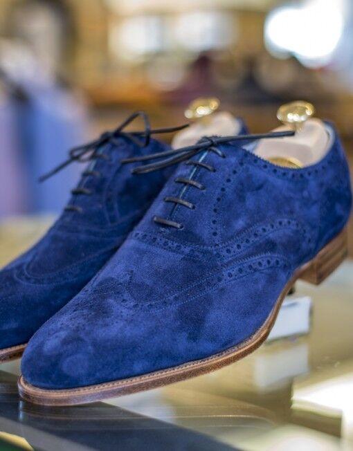Handmade Mens fashion Blau Suede schuhe, Men designer wingtip brogue party schuhe