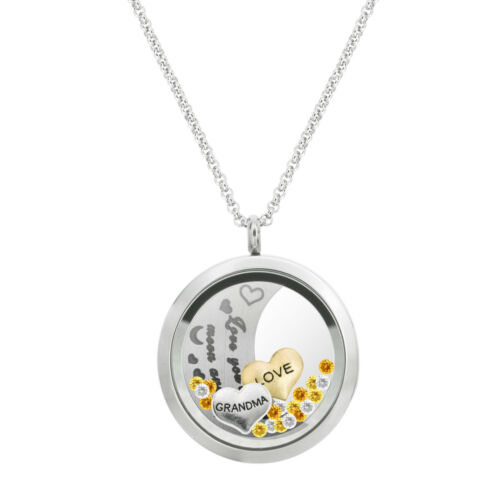 Love You To The Moon And Back Valentine Floating Locket Crystal Charm Necklace