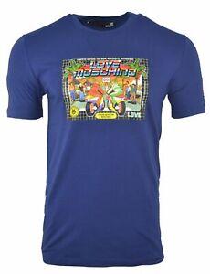 Men-039-s-Love-Moschino-Designer-Cotton-T-Shirt-Printed-Crew-Neck-Casual-Blue-Size-M