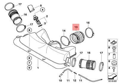 Genuine OEM BMW E65 E66 Sedan Intake Boot Air Duct 13717541069