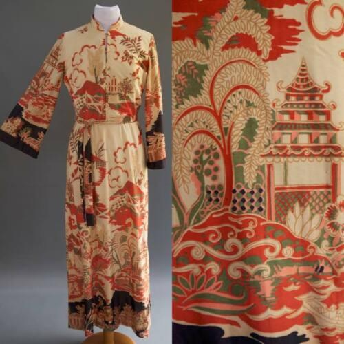 VTG 60s 70s Kimono Asian Dress Velvet Bow Belt STE