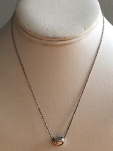 7197faa358722 Details about Tiffany & Co. Sterling Silver Elsa Peretti Bean Necklace 16