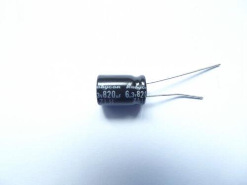 820UF 6.3V 105c baja ESR tamaño 8mmx11.5mm Rubycon 6.3 zlh 820 mefc 8X11.5 x3 un.