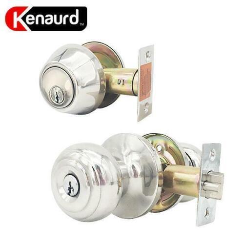 Knob /& Deadbolt Bright Chrome– SC1 Double Cylinder Deadbolt Door Handle