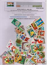 FLAG ON STAMPS 100  DIFFERENT THEMATIC STAMPS NATIONAL EMBLEMS ALL LARGE STAMPS