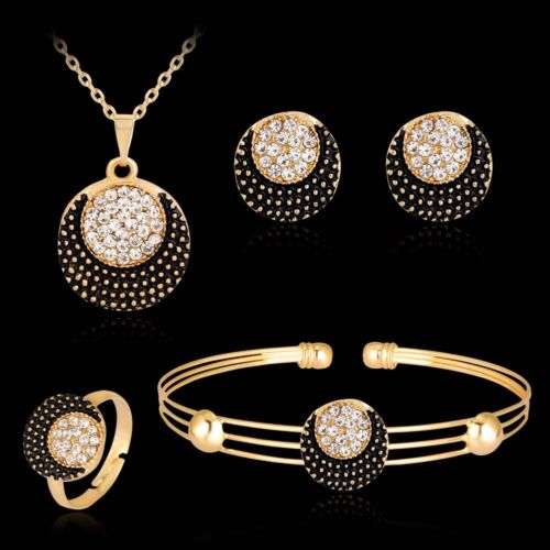de Frauen Mit Sonne Und Mond Strass Kette Armband Ring Ohrringe Schmuck Set