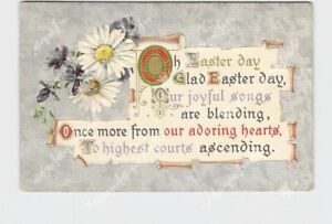 PPC-POSTCARD-EASTER-POEM-SCROLL-DAISES-GOLD-SILVER-EMBOSSED