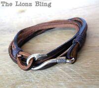 Vintage Style Brown Genuine Leather & Antiqued Silver Fish Hook Clasp Bracelet