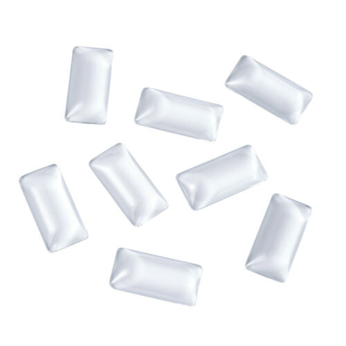 10PCS Transparent Rectangle Glass Cabochons Clear For Pendant Making 38x19mm