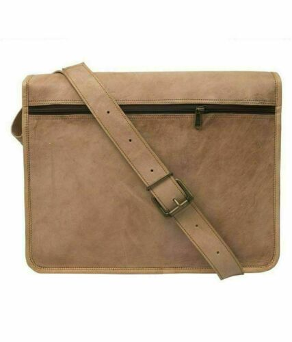 Men/'s Real Leather Vintage Brown Messenger Shoulder Bag Laptop Bag Full Flap Bag