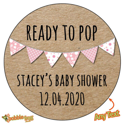 223 24 x Personalised BABY SHOWER Yellow Pink Blue Bunting Stickers Christening