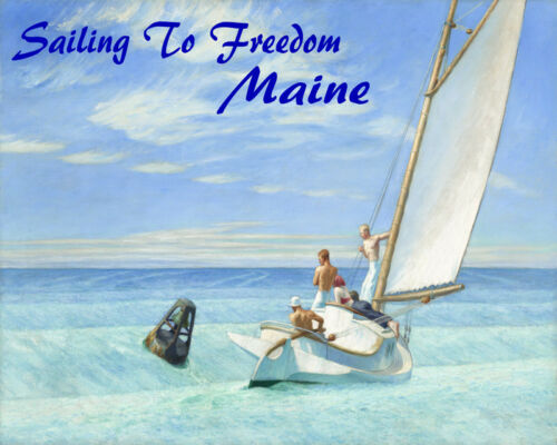 POSTER SAILING TO FREEDOM MAINE SAIL BOAT SAILBOAT SPORT VINTAGE REPRO FREE S//H