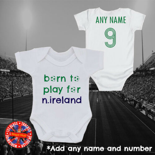 """Northern Ireland Football /""""Born to play for/"""" Personalised Babygrow Gift ideas"""