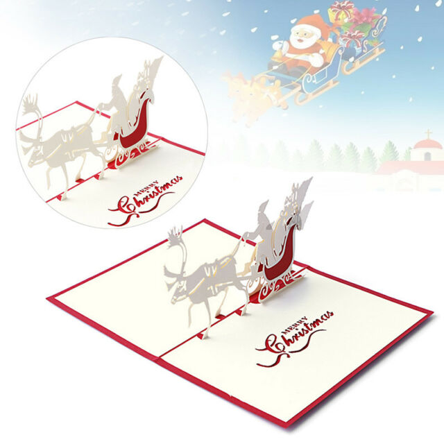 Bands Without Stones Jewelry & Watches 3d Pop Up Santas Sleigh Greeting Card Merry Christmas Wedding Postcard Gift Hot
