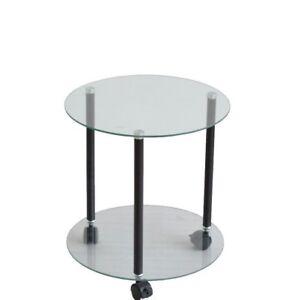 beistelltisch mit rollen rolltisch glastisch rollbar rund farbe schwarz ebay. Black Bedroom Furniture Sets. Home Design Ideas