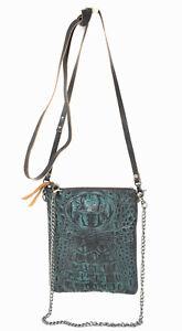 Texas-West-Genuine-Crocodile-Leather-Women-Crossbody-Floral-Tooled-Messenger-Bag