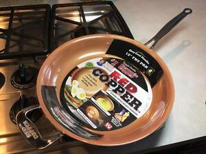 New Red Copper 12 Quot Inch Frying Pan Skillet As Seen On Tv