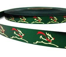 "SALE .20/yd! - 5 Yds Christmas Gold Reindeer Green Acetate Ribbon 3/4""W"