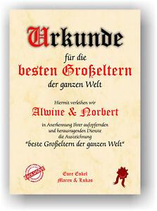 URKUNDE-Geschenk-besten-GROSSELTERN-der-Welt-Geschenkidee-Oma-Opa-Zertifikat-NEU
