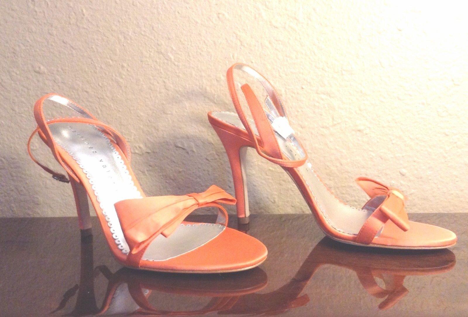 NEW MARTINEZ VALERO Satin Strappy STILETTO High Heel Heel Heel Ankle Strap Sandal 8.5M 39 004e84