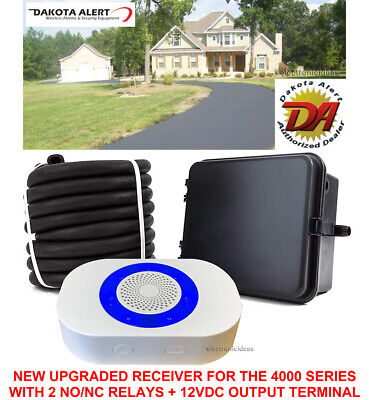 Up to 1 Mile Operating Range Dakota Alert DCRH-4000 Wireless Driveway Alarm System DCR-4000 Receiver and DCHT-4000 Transmitter Box with 25-FT Rubber Hose Vehicle Sensor