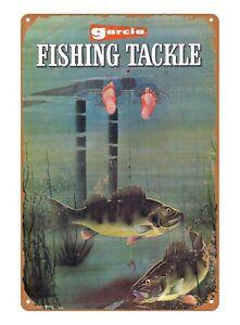 Garcia Catalog Fish Illustrations Northern Pike metal tin sign hot rod decor