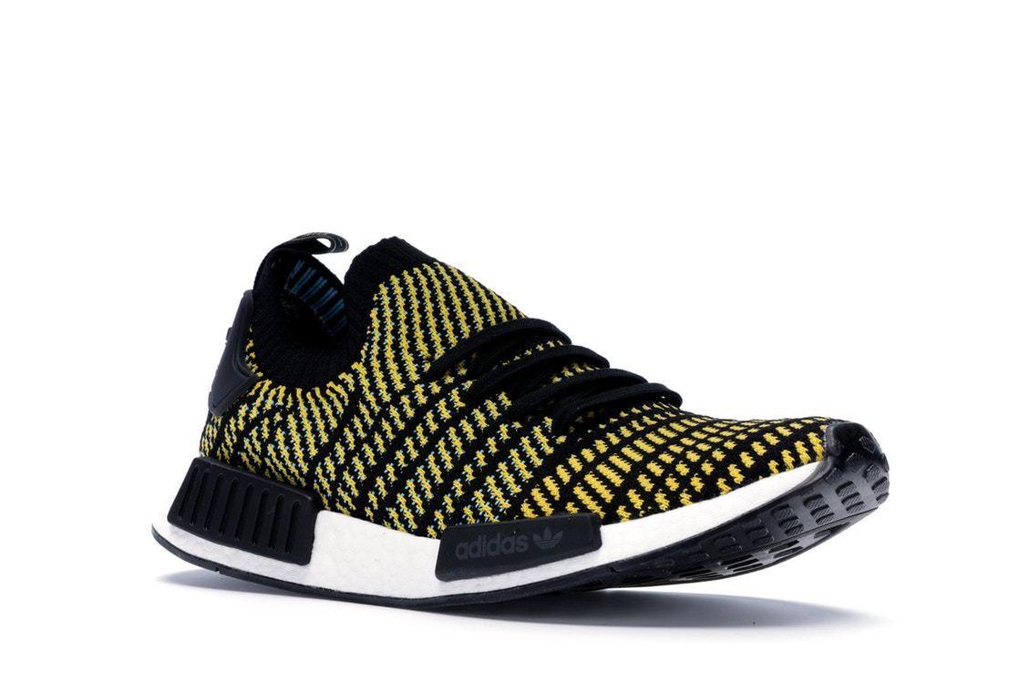 ADIDAS AQ0934 NMD_R1 STLT PK  BOOST  Black Yellow Prime Knit Running shoes  NEW