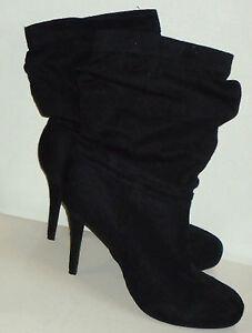 CARLA-BlackFauxSuedeStilettoPlatformAnkleBoots-Size10-NWoT