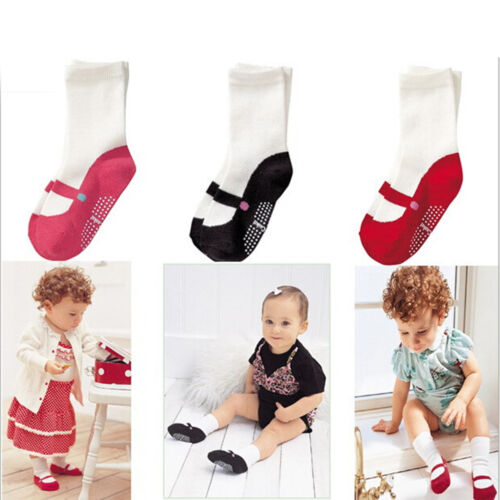 6-24M Cute Baby Girls Newborn Soft Cotton Shoes Floor Socks Anti-slip Socks BR