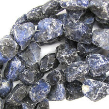 "20-26mm natural blue sodalite freeform nugget beads 16"" strand"