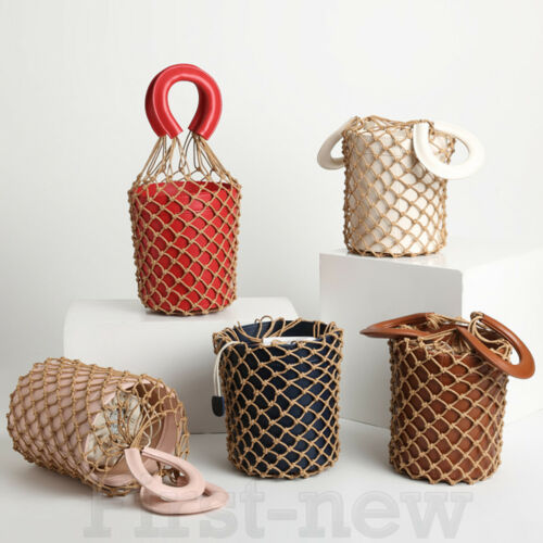 Womens Fish Net Bucket Bags Leather Handbags Straw Flowerpot Foto Shoulder Bags