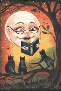 LE-4x6-HALLOWEEN-POSTCARD-1-200-RYTA-BLACK-CAT-MAGIC-MOON-AUTUMN-STORIES-ART