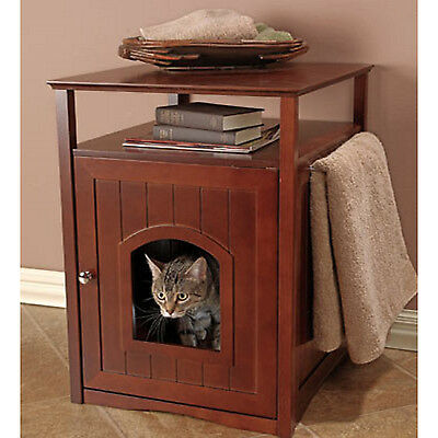 Designer Pet Litter Box Cover Night Stand End Table Cat House Dog Crate Walnut 706581709096 Ebay