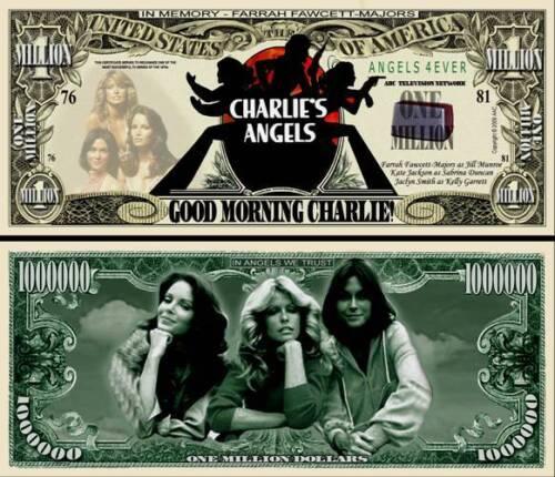 FREE SLEEVE Charlie/'s Angels Million Dollar Bill Fake Funny Money Novelty Note