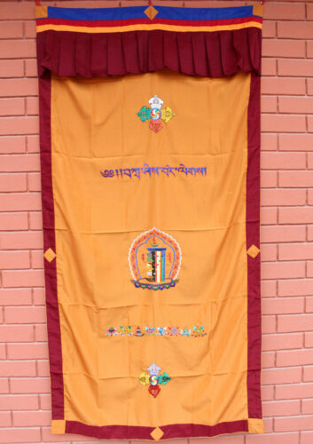 cotton wall hanging door curtain embroidered with tibetan kalachakra