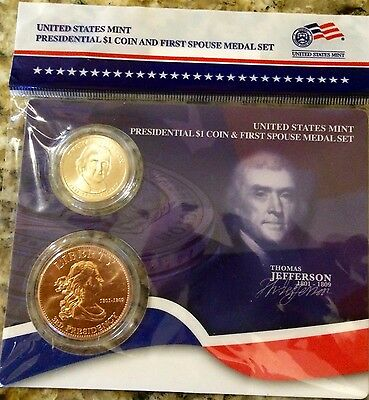 2007 John Adams Presidential $1 Coin /& First Spouse Medal Set US Mint
