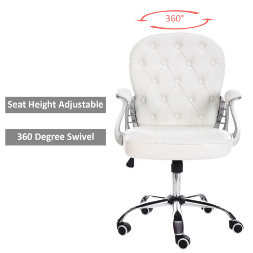 White Swivel Button Back Upholster Faux Leather Chair Study Office Studio Salon