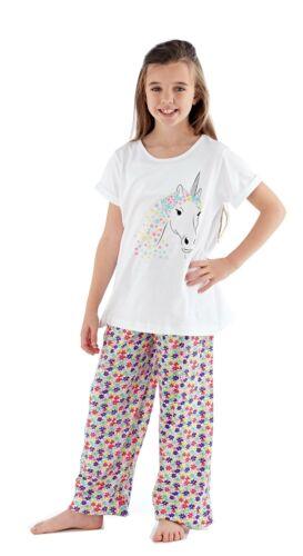 Ragazze Floreale Unicorno Pigiama//Pj Set ~ 5-12 anni