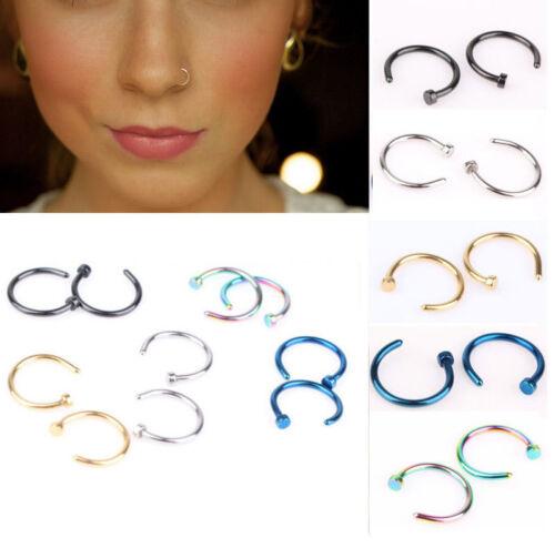5-40pcs Jewelry Stainless Steel Nose Open Hoop Ring Earring Body Piercing Studs