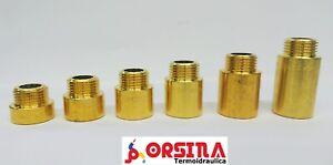"Prolunga in ottone pesante per idraulica e riscaldamento M/F Ø 1/2"" 3/4"" 1"""