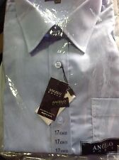 17 34/35  Baby Blue Dress Shirts Angelo Rossi NWT