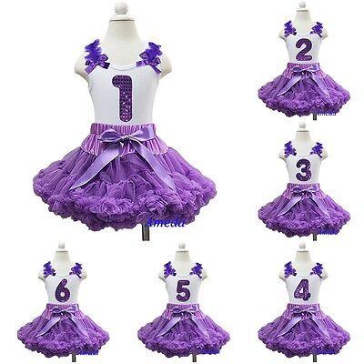 Purple Pettiskirt Tutu Bling 1st-6th Number Birthday White Tank Top Party Dress