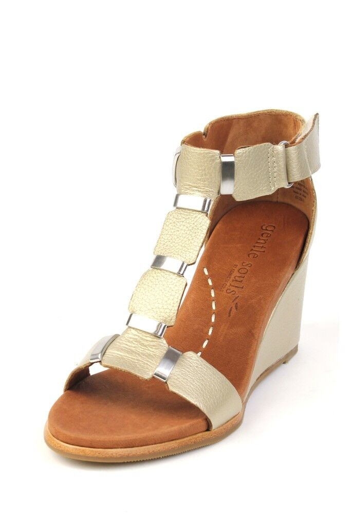 Gentle Souls Donna Hey Gabe Soft Gold Ankle-Strap Sandal Leather Heel Wedge NEW