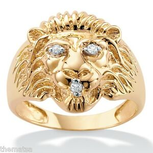 10K-YELLOW-GOLD-MENS-DIAMOND-ACCENT-LIONS-RING-SIZE-9-10-11-12-13